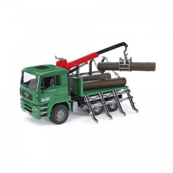Bruder MAN TGA Holztransport-LKW mit Ladekran & 3 Baumstämmen