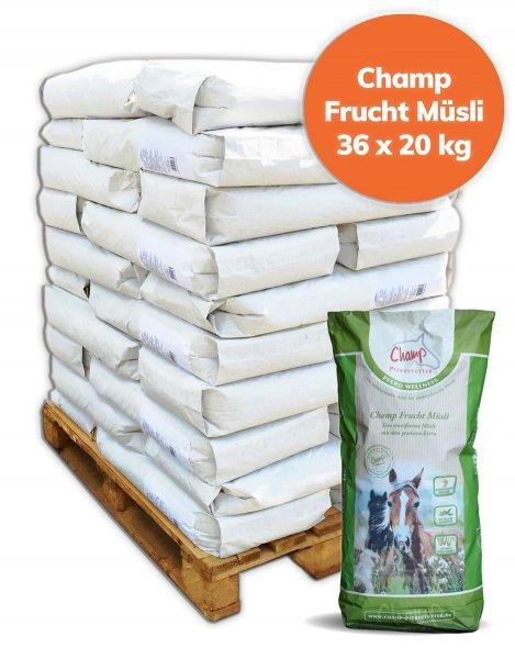 Palette Champ Fruchtmüsli ohne Hafer für Pferde 720 kg, 36x 20 kg