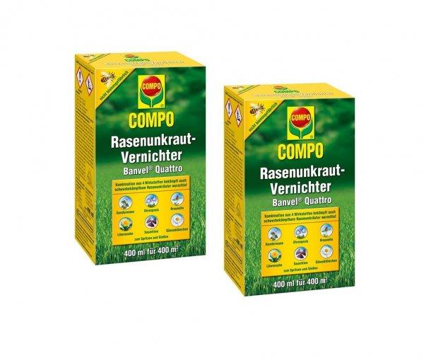 Compo Rasenunkraut-Vernichter Banvel Quattro im Doppelpack, 2x 400 ml