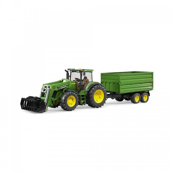 Bruder John Deere Traktor 7930 mit Frontlader und Tandemachs-Transportanhänger