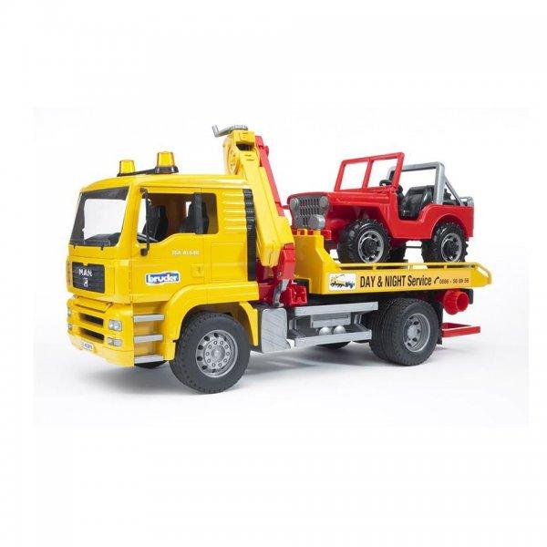 Bruder MAN TGA Abschlepp-LKW mit Geländewagen