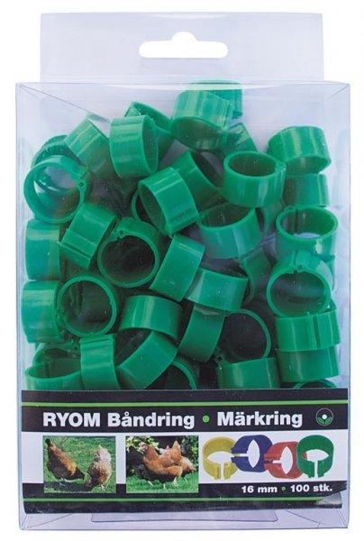 Ryom Bandringe Kunststoff grün 16 mm, 100 St.