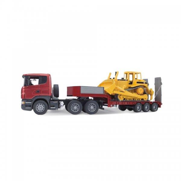 Bruder Scania R-Serie LKW mit Tieflader und Caterpillar CAT Bulldozer