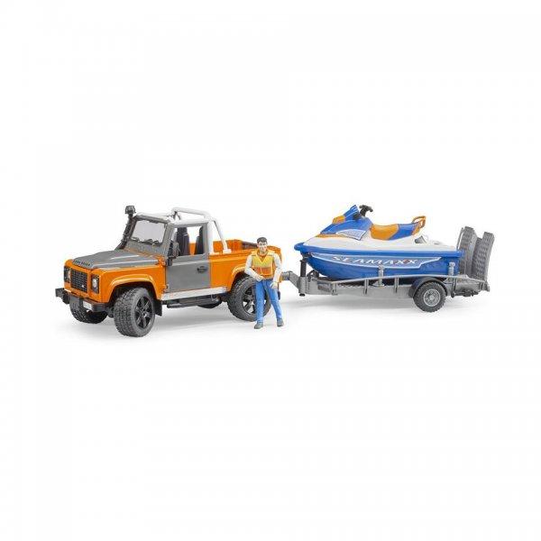 Bruder Land Rover Defender PickUp mit Anhänger, Personal Water Craft & Fahrer