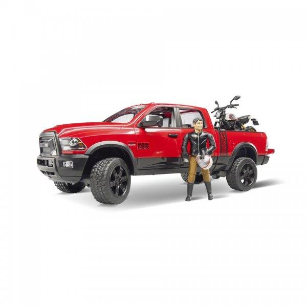 Bruder RAM 2500 Power Wagon mit Scrambler Ducati Desert Sled & Fahrer