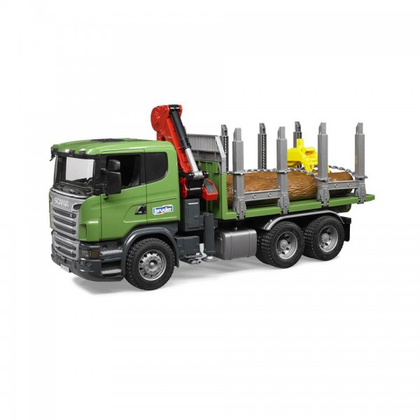 Bruder Scania R-Serie Holztransport- LKW, Ladekran, Greifer & 3 Baumstämmen