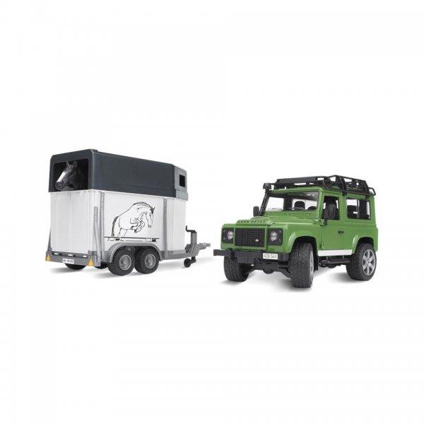 Bruder Land Rover Defender mit Pferdeanhänger inkl. 1 Pferd