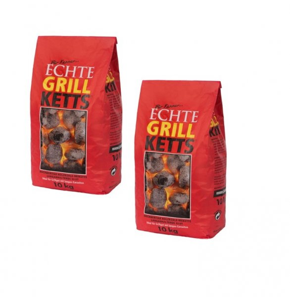 "GrillKetts ""Feuer&Flamme"" Holzkohle Briketts im 2er-Sparpack, 2x 10 kg"