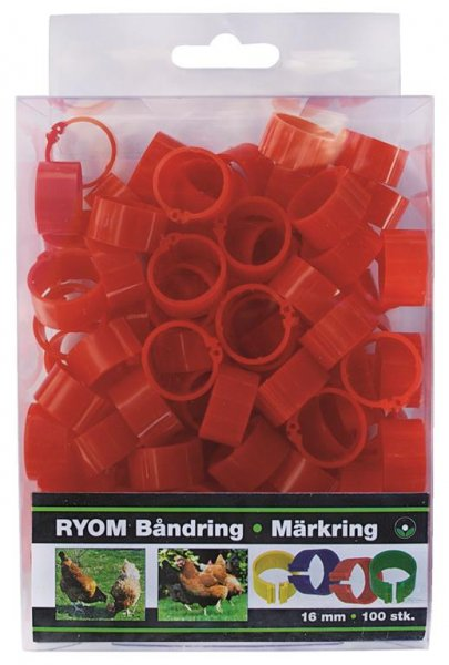 Ryom Bandringe Kunststoff rot 16 mm, 100 St.