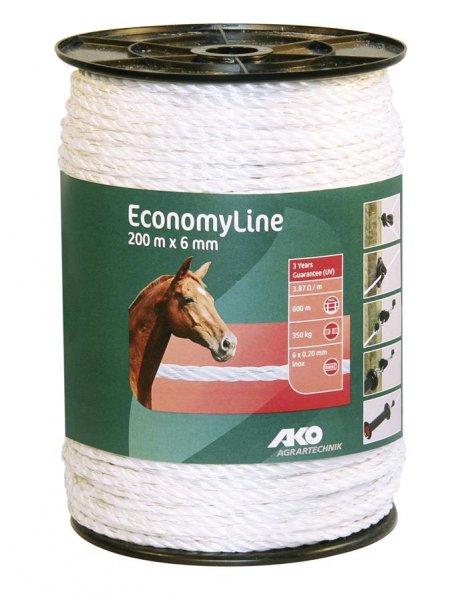 Kerbl Seil EconomyLine, 200 m, 6 mm, weiß, 6x 0,2 mm