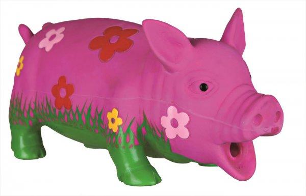 Trixie Schwein mit Blumen, Original-Tierstimme, 20 cm, Latex