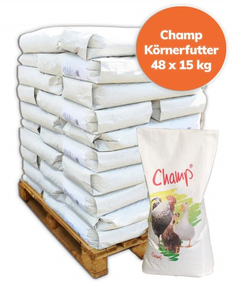 Palette Champ Geflügelkörnerfutter Hühnerfutter ohne Gentechnik VLOG geprüft 720 kg, 48x 15 kg